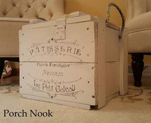 "EXAMPLE: Crate box w/ ""Ol' Faithful"", distressed, clear wax"