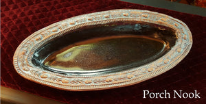 Handcrafted Rustic Ceramic Bowl w/ Decorative Acorn & Rosemary Trim