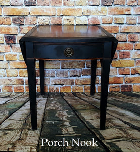 "EXAMPLE: End table w/ ""Charcoal"", distressed, dark wax"