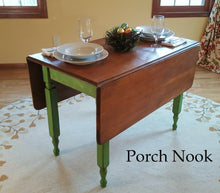 "EXAMPLE: Leaf table w/ ""Sugar Snap Pea"", distressed, clear and dark wax"