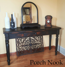 "EXAMPLE: Console table w/ ""Charcoal"", distressed, dark wax"