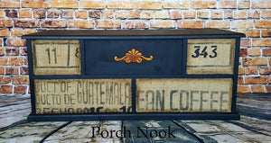 "EXAMPLE: Chest w/ ""Charcoal"", burlap, dark wax"