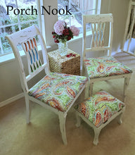 "Dinning chairs and footstool - Hand Painted w/ ""Ol' Faithful"" by Porch Nook"