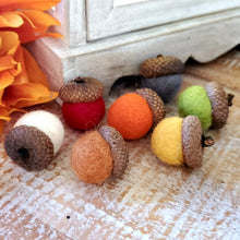 Set of 10 Handmade Felted Wool Acorn Ornaments, Hand Felted
