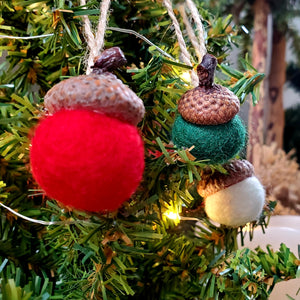 Felted Wool Acorn Ornaments with Twine Hanger, Set of 8 - Red, Green and White