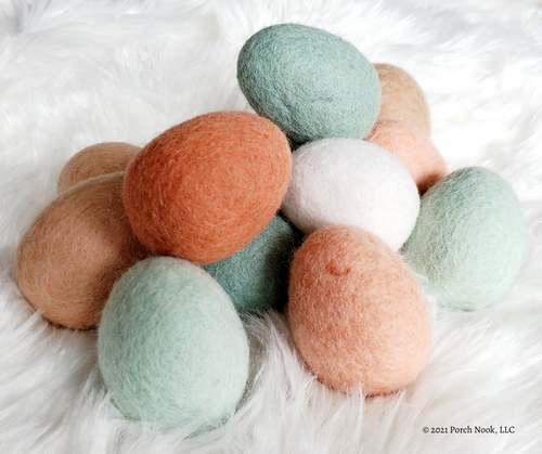 Handmade 100% Wool Felt Eggs, 6-Piece Set | Porch Nook