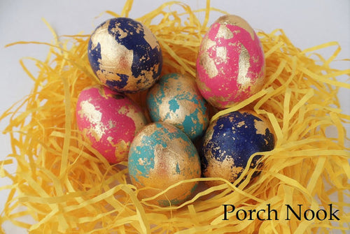 Gold Leaf Decorative Eggs, Set of 6 - Mardi Gras Collection