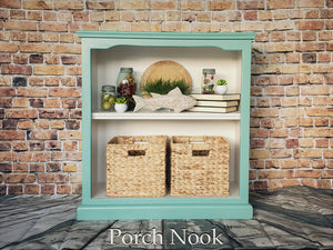 "EXAMPLE: Bookcase painted with ""Sea Glass"" and ""Ol' Faithful"""