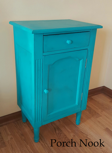 "EXAMPLE: Cabinet w/ ""The Real Teal"", clear wax"