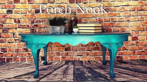 "EXAMPLE: Oval coffee table w/ ""The Real Teal"", distressed"