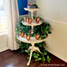 Vintage French Country 3 Tier Dumbwaiter Table, Hand Painted