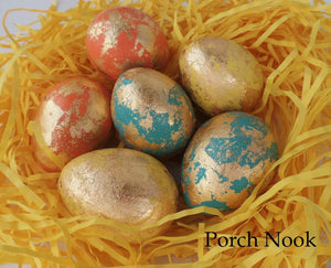 Gold Leaf Decorative Eggs, Set of 6 - Citrine Collection