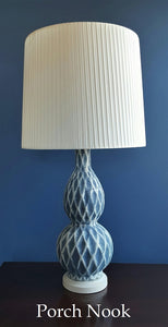 "EXAMPLE: Lamp w/ ""Blue My Mind"" and ""Ol' Faithful"", clear wax"