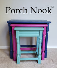 "3-piece nesting table set - Hand Painted w/ ""Sea Glass"", ""Fuchsia So Bright"" and ""Blue My Mind"" by Porch Nook"
