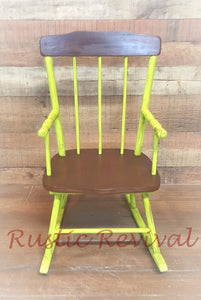 "EXAMPLE: Child's rocking chair w/ ""Sublime"", designed by Rustic Revival in Vilonia, AR"