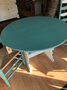 "EXAMPLE: 3-piece dining set w/ ""Sea Glass"", designed by Faith Wooden of Southern Inspired"