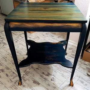 "EXAMPLE: End table w/ ""After Midnight"", designed by I Love Old Furniture in Cedar Park, TX"