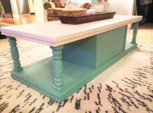 "EXAMPLE: Coffee table w/ ""Sea Glass"", designed by Southern Inspired in Grenada, MS"