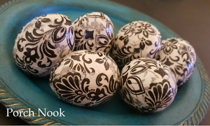 Decoupage Decorative Eggs, Set of 6 - White & Black