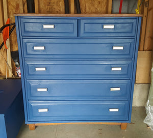"EXAMPLE: Tall boy dresser w/ ""Blue My Mind"""