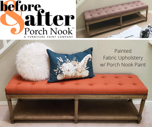 "Example: Fabric upholstery painted with ""Monarch"" by Porch Nook"