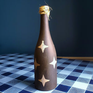 Rustic Farmhouse Wine Bottle, Black with White Stars, Hand Painted