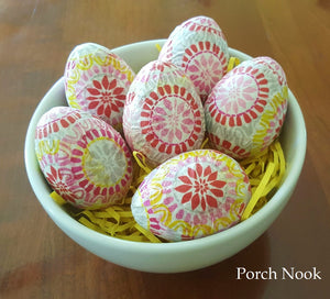 Decoupage Decorative Eggs, Set of 6 - Yellow, Red, White, Pink, Grey