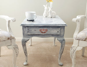 Vintage French Country Drexel End Table with Drawer, Hand Painted
