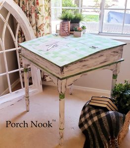 "EXAMPLE: Vintage Schoolmaster's Tall Desk, Hand Built w/ Hinged Lift Top painted with ""Sugar Snap Pea"" and ""Ol' Faithful"""
