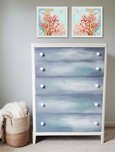 Vintage 5-Drawer Dresser - Hand Painted