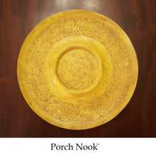"EXAMPLE: Metal Platter w/ ""Butter Me Up"" & dark wax, designed by Porch Nook"