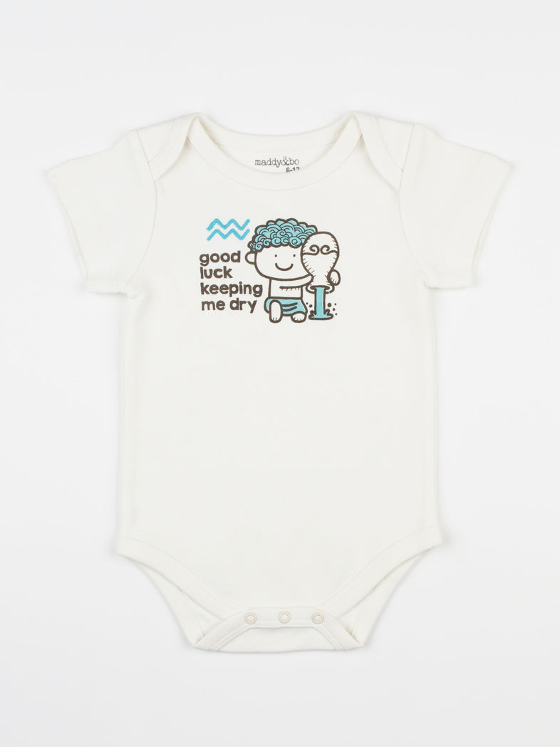 baby horoscope body suit onesie unisex aquarius organic cotton