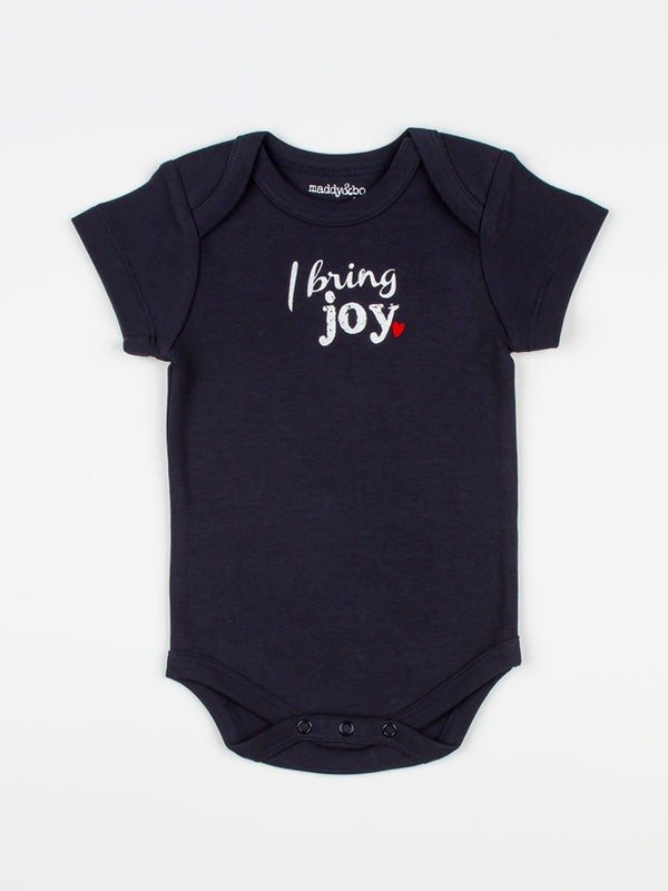 baby body suit onesie unisex navy organic cotton design I bring joy