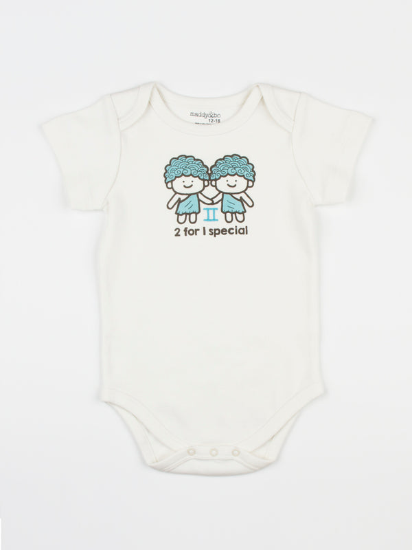baby horoscope body suit onesie unisex gemini organic cotton