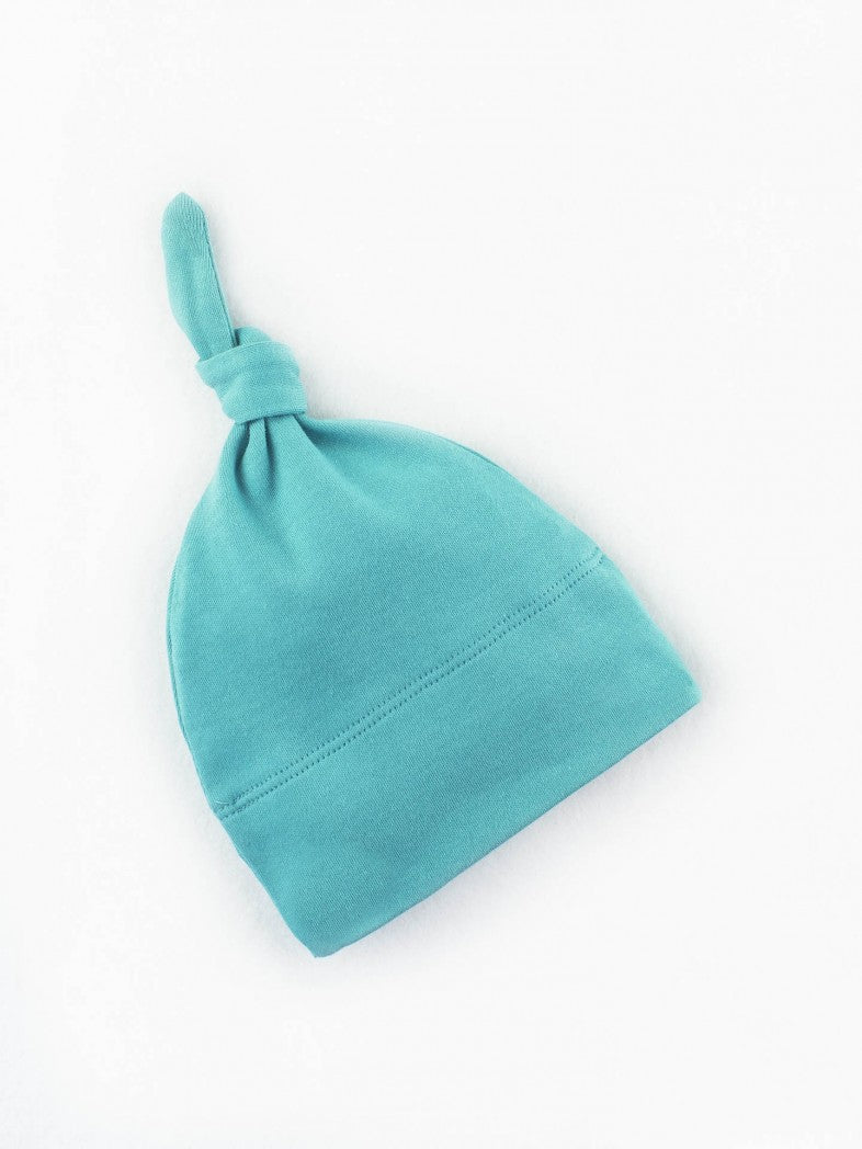 baby knotted hat by colored organics organic cotton teal