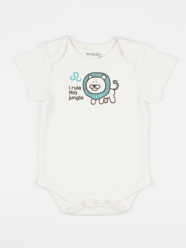 baby horoscope body suit onesie unisex leo organic cotton