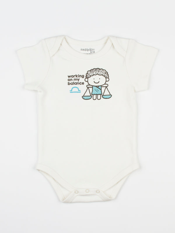 baby horoscope body suit onesie unisex libra organic cotton