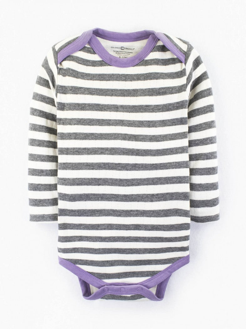 striped long sleeve body suit baby girl organic cotton