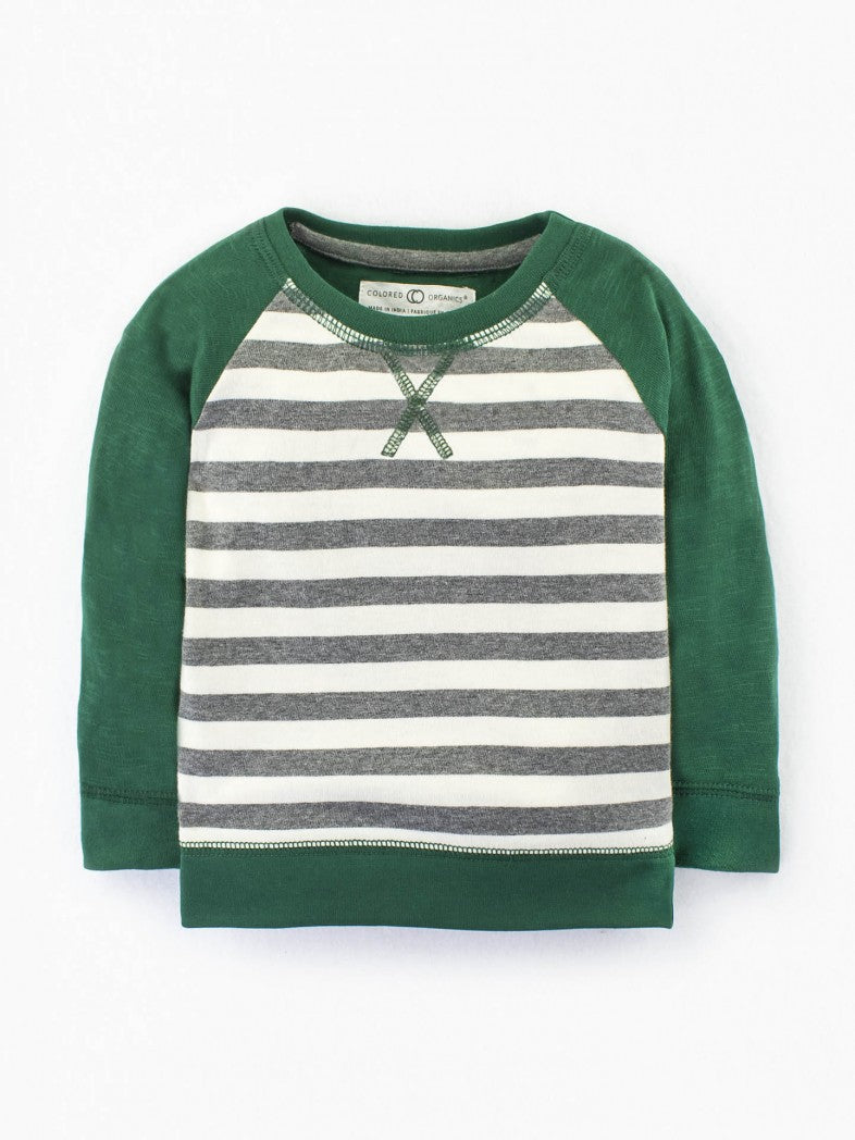 baby pullover sweater green white stripe organic cotton
