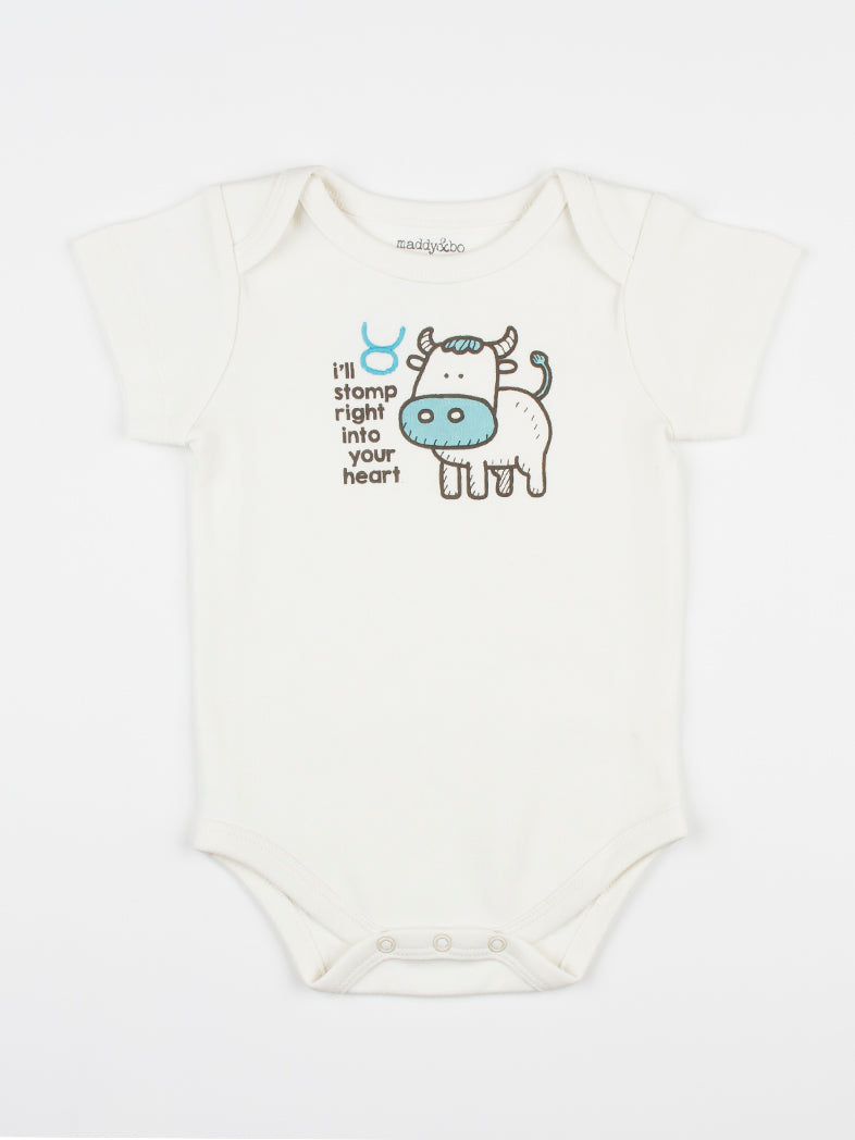 baby horoscope body suit onesie unisex taurus organic cotton