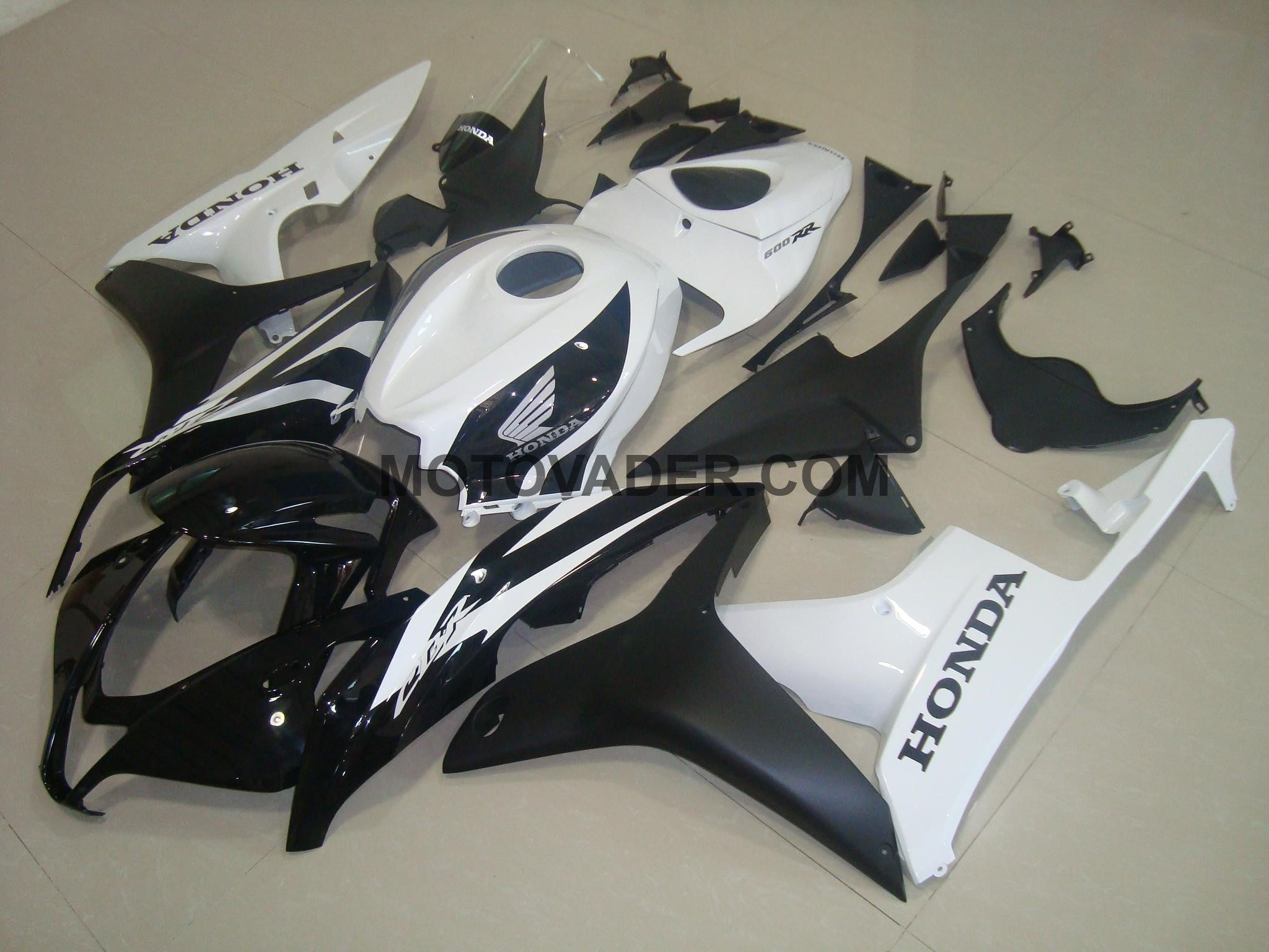Honda CBR 600RR 2007-2008 Matt Black & White Fairing