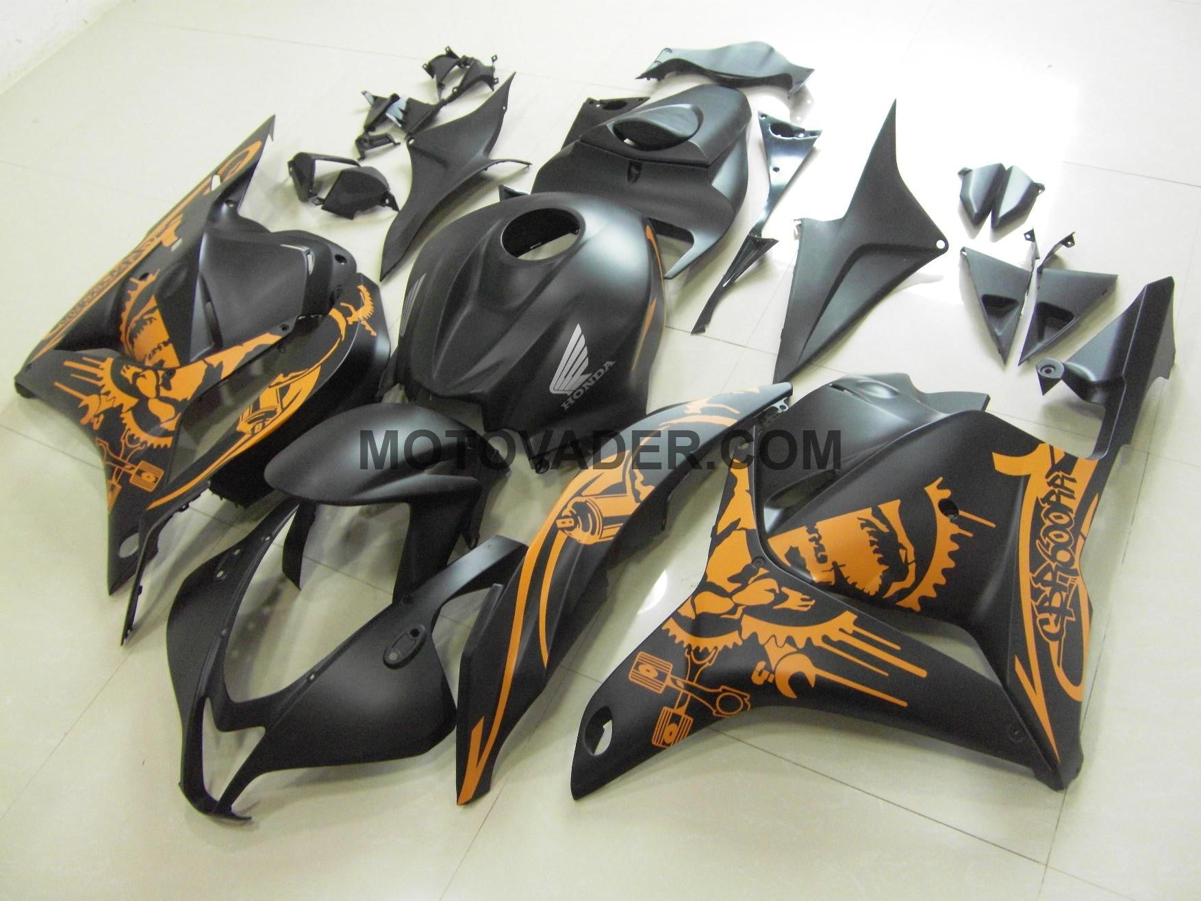 Honda CBR 600RR 2009-2012 Matt Black & Orange Sticker Fairing