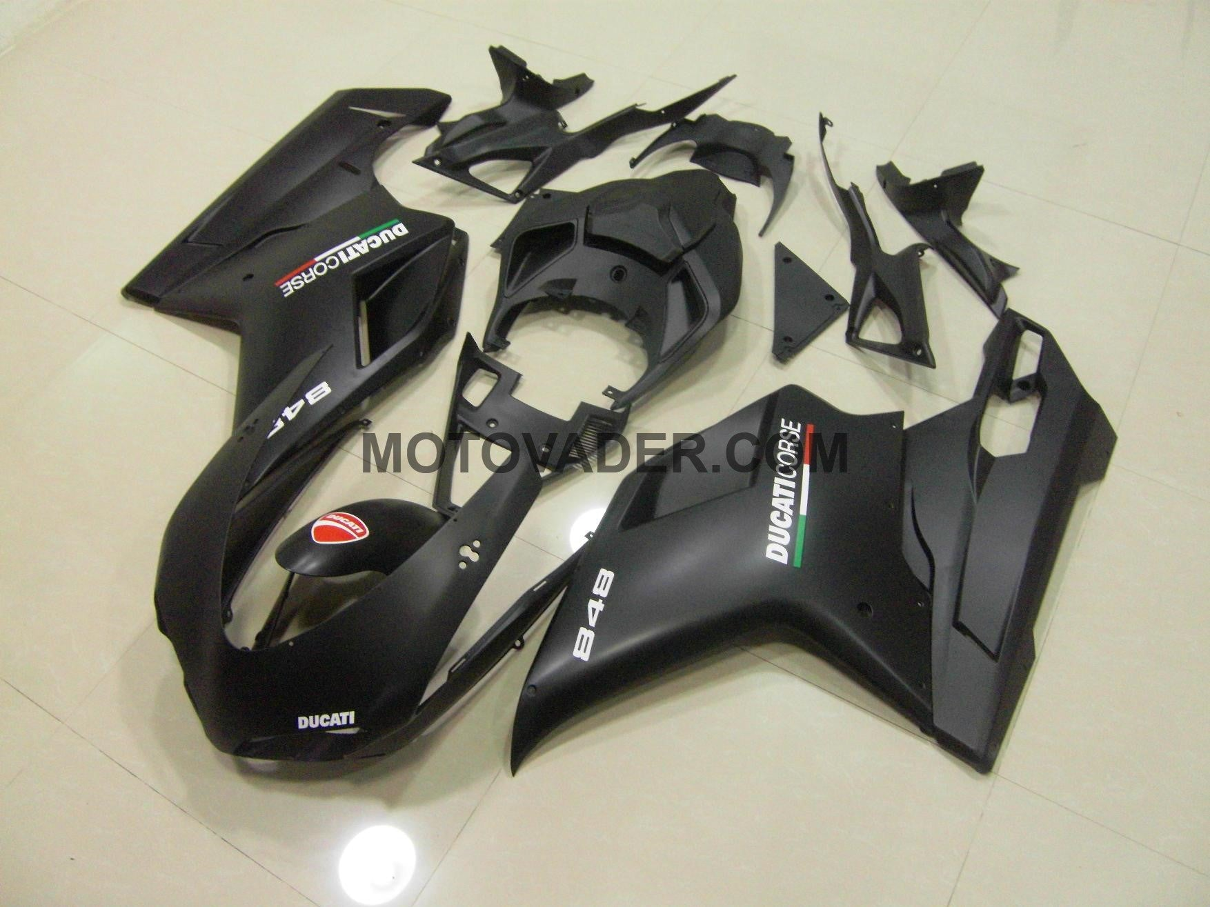 Ducati 1098 2007-2012 Matt Black & White Decals  Fairing