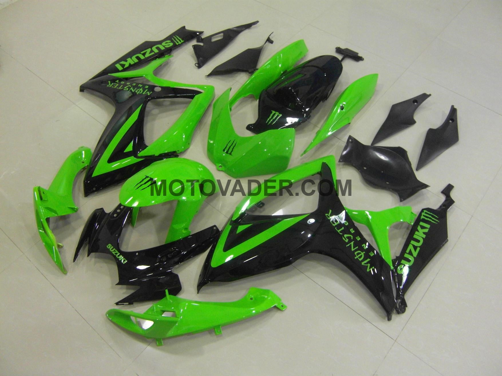 Suzuki GSXR 750 2006-2007 Green & Black Monster Fairing
