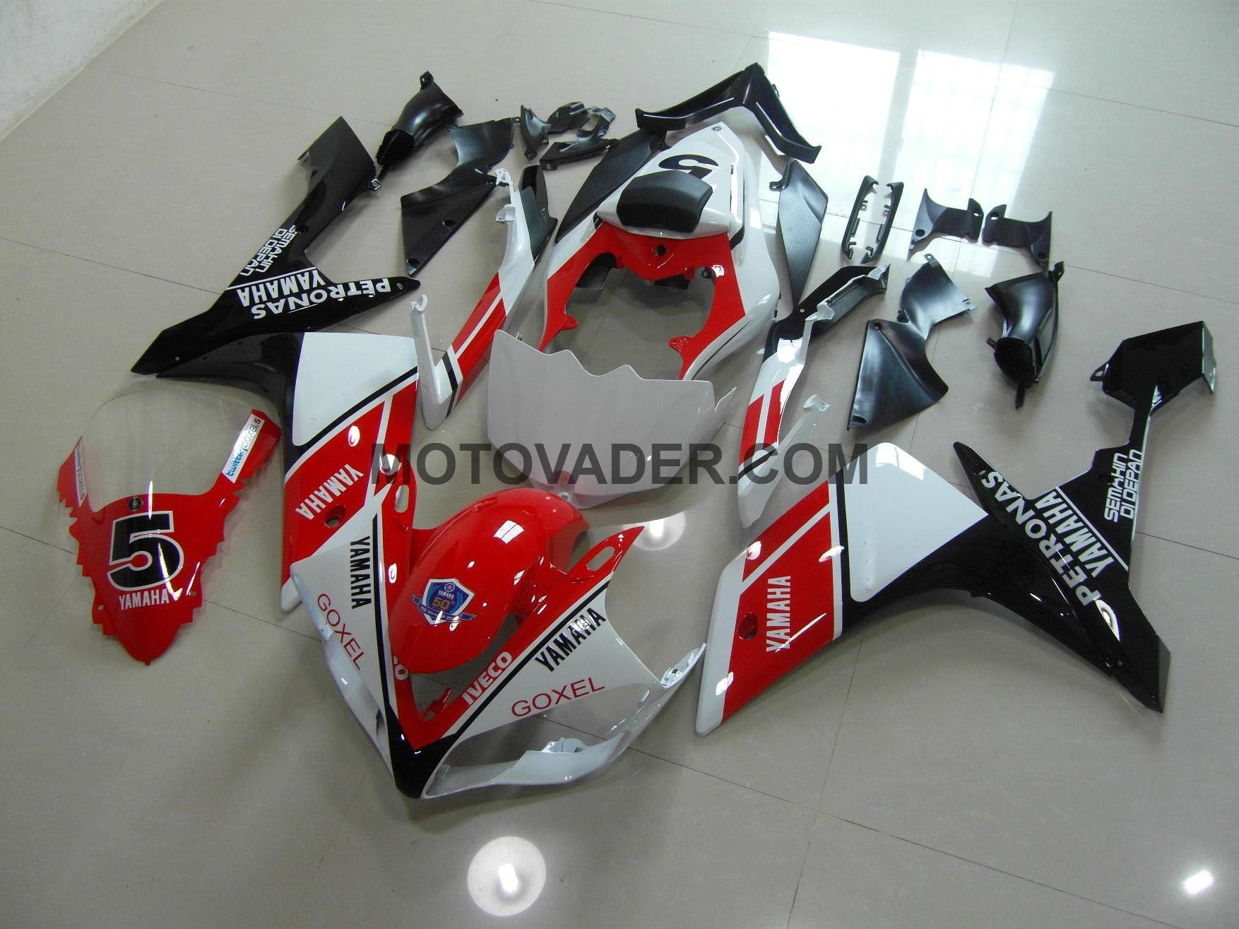 Yamaha R1 2007-2008 White & Red & Black With Number 5 Fairing