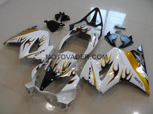 Honda VFR 800 2002-2012 White & Gold Black Flame Fairing
