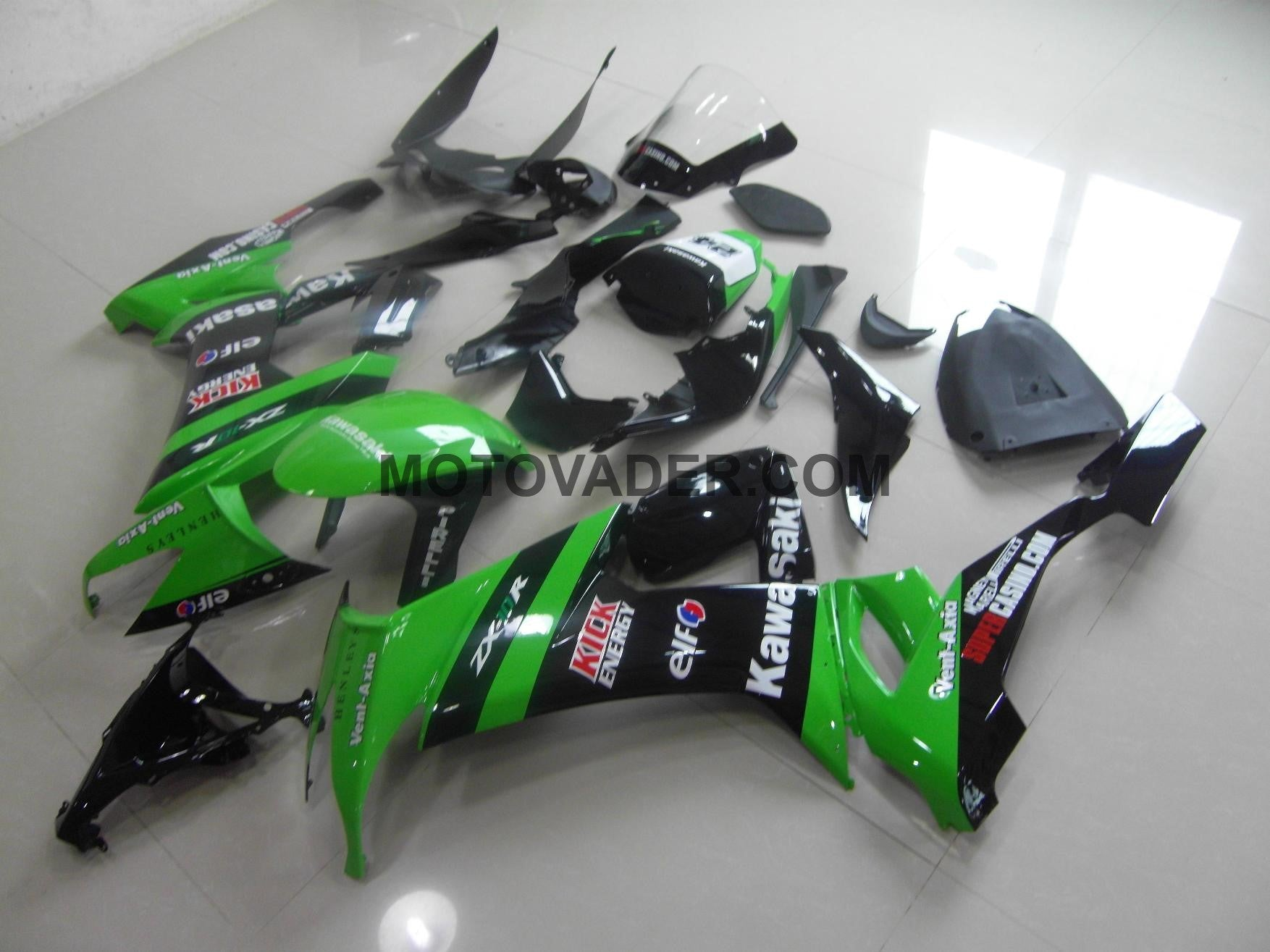 Kawasaki ZX-10R 2008-2010 Green & Black Kick Fairing