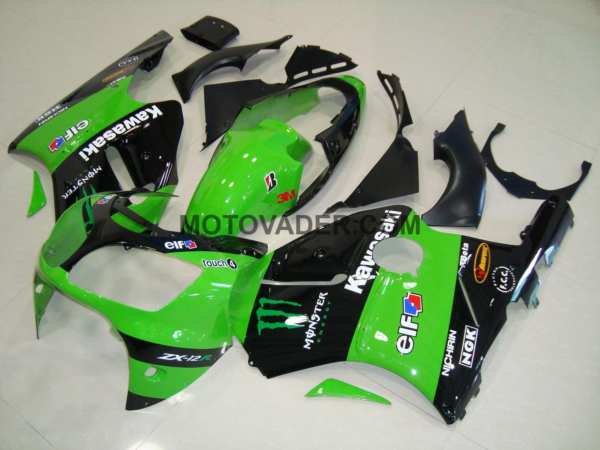Kawasaki ZX-12R 2000-2001 Green Monster Fairing