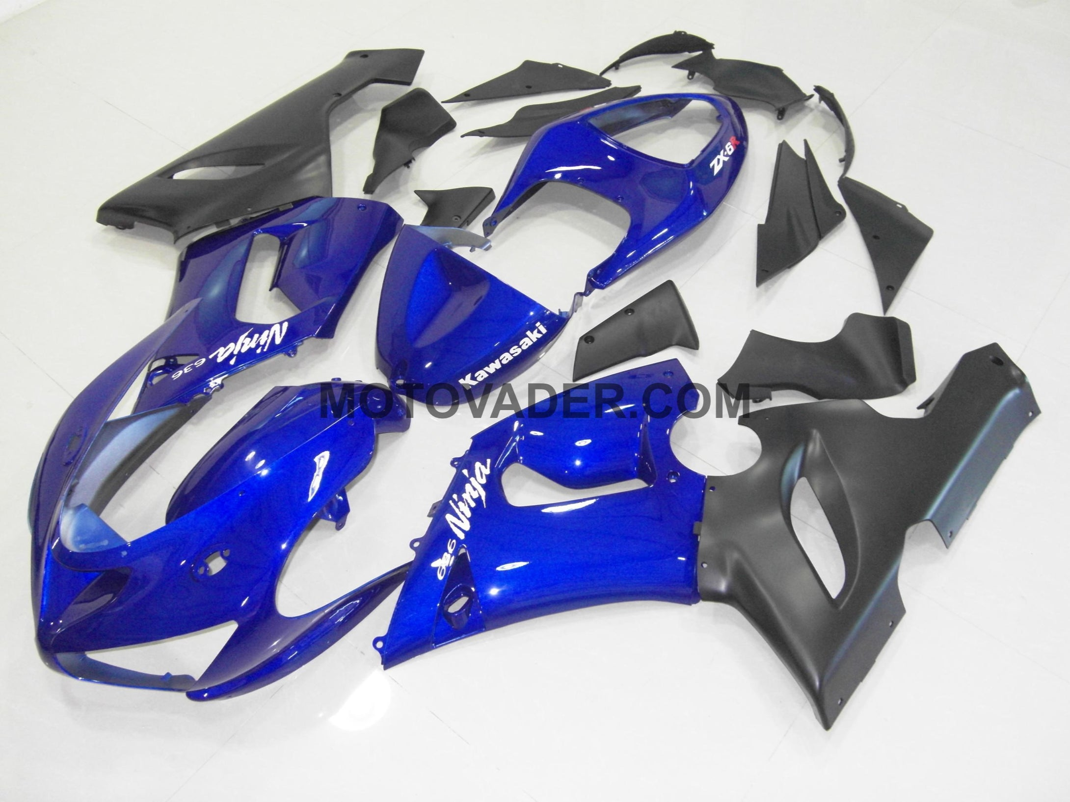 Kawasaki ZX-6R 2005-2006 Blue & Black 4 Fairing