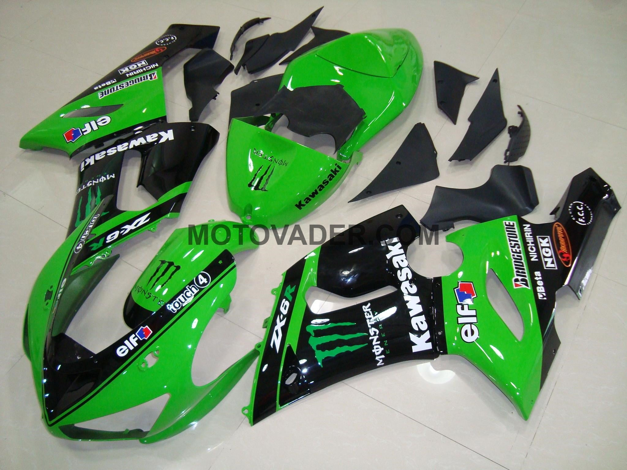 Kawasaki ZX-6R 2005-2006 Green Monster 2 Fairing